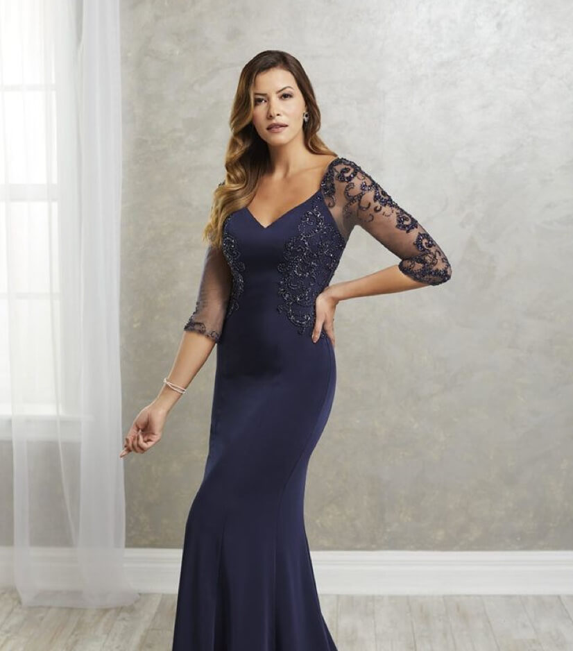 Mother of Bride in dark blue dress